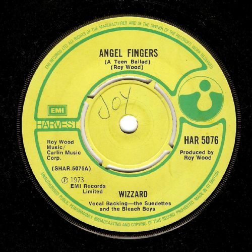 WIZZARD Angel Fingers Vinyl Record 7 Inch Harvest 1973